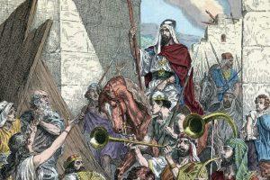 """The Triumph of Judas Maccabeus – Le triomphe de Judas Macchabee – Judas Maccabee (ou Macabee), surnomme le marteau – """"Histoire sainte"""" vers 1890 – gra"""